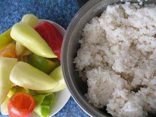 A rizs és paprika elkészítése