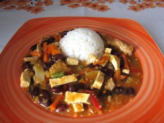 Sertés wok tofuval