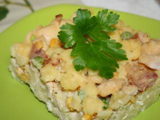 Csirkés besütött krumplis galuska