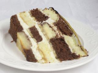 Banános mascarpone sakktábla torta